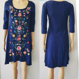 Johnny Was LA Blue Embroidered Dress Small Size